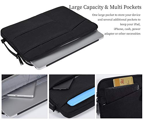 imComor 11.6 12 Inch Laptop Sleeve Case Bag Carry Handle Pocket for Acer R11 Chromebook, Samsung Chromebook 11.6, MacBook Air 11, Dell ASUS Lenovo HP Chromebook 11.6 Notebook Tablet Briefcase, Black