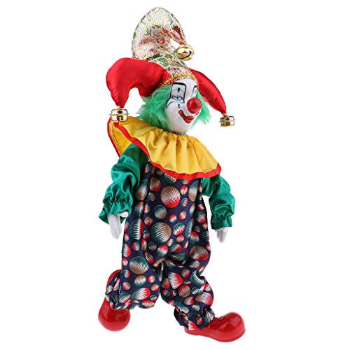 SM SunniMix 38cm Vintage Hand Painted Porcelain Clown Doll in Colorful Clothes Ceramic Clown Dolls Decoration #2