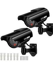 AlfaView Zonne-energie Bullet Dummy Fake bewakingscamera Beveiliging CCTV-domecamera met LED-knipperlicht voor buiten/binnen, thuis/bedrijf (Zwart-2 pack)