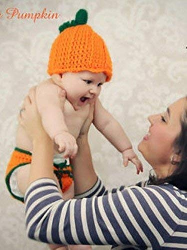 Baby Halloween Costume Pumpkin Hat and Diaper Cover Gift Set Orange and Green 2 Piece
