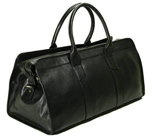 Top Grain Calf Leather 20'' Weekender Overnight Travel Duffel in Black by Leftover Studio by Leftover Studio (Image #1)