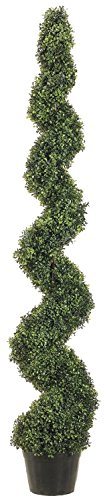 One 6 Foot 3 Inch Outdoor Artificial Boxwood Spiral Topiary Tree Uv Rated Potted Plant ()