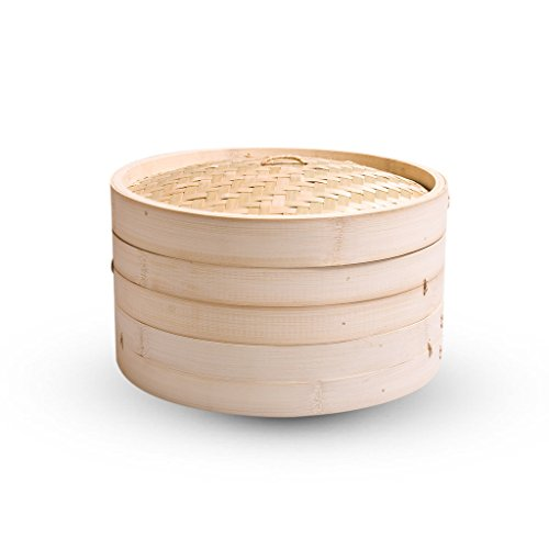 Round Shape Bamboo Steamer (21 cms) Basket New Arrival Best Selling Premium Quality Lowest Price Momos, Dim Sum, Wanton Steamer Box, Ideal for Asian Delicacies for Home, Parties & Professional Kitchen, Use Less Oil for Cooking, Steam & Serve, Prepare Oriental Delights in an Authentic Manner, Convenient, Easy to Use, Clean & Maintain, Absorbs Extra Moisture, Food Isn't Soggy, Superior Steaming Results, Tightly Woven Lid Keeps Steam Inside, Serves 2 Individual Portions of Dumplings