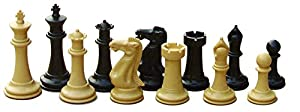 "High Quality School and Club Chess Set: Massively Weighted Chess Pieces: 4"" King, 2 Extra Queens, Black Mouse Pad Chess Board"