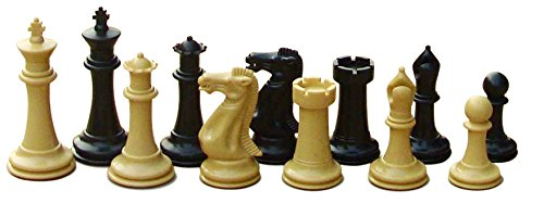 ht Chess Game Set for Schools, Clubs and Tournaments - 34 Natural/Black Pieces (2 Extra Queens), 4
