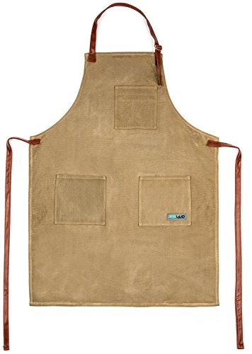 Utility Waxed Canvas Apron Durable with PU Leather Strap and Reinforced Stitching - Heavy-Duty Waterproof Apron (Funny Mens Homemade Halloween Costumes)