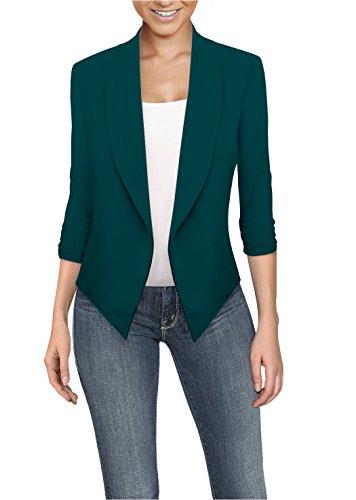 (Womens Casual Work Office Open Front Blazer JK1133X Teal 3X )