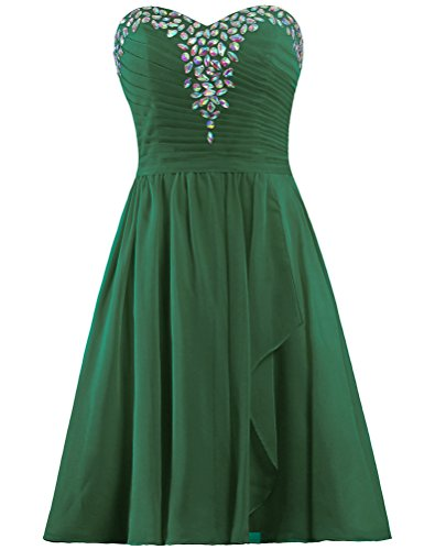 Prom Homecoming Chiffon Short Hunter Strapeless Women's Green Gown Dresses ANTS qOY7xRtwa