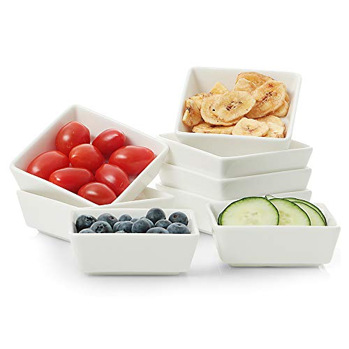California Home Goods 8-Piece Square Ramekin Bowls, 4 Oz Ramekin Bowl for Baking, Cooking, Oven Safe Porcelain, Sleek Porcelain White, Small Ramekin Set, Souffle Bowls, White Ramekins for Instant ()