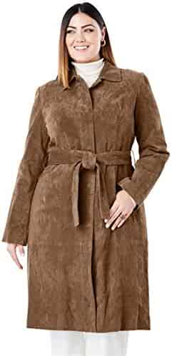 8b118e84d62 Jessica London Women s Plus Size Suede Trench Coat