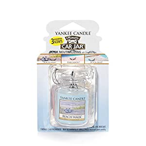 Yankee Candle Car Jar Ultimate Hanging Air Freshener 3-Pack (Beach Walk, Pink Sands, and Sun & Sand)
