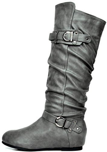 WIDE Women's Wedge CALF Knee Available Low Hidden Calf Boots GREY DREAM Wide High PAIRS FYq74wCw