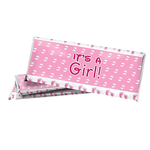 Pink It's a Girl Baby Shower Favor Candy Bar Sticker Wrappers with Foils (Set of 12)