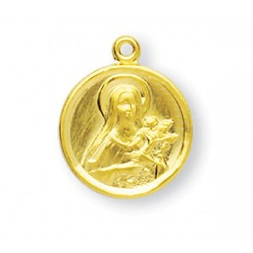 Saint Therese Gold Overlay Sterling Silver The Little Flower Medal with 18
