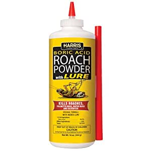 Harris Boric Acid Roach and Silverfish Killer, 1 Pound Powder w/Lure and Extension Tube
