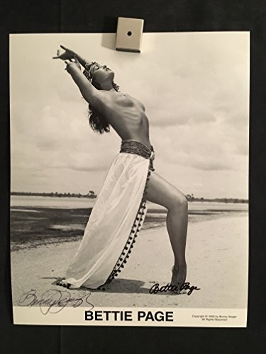 Bettie Page, Bunny Yeager, Duel Signed Autographed Vintage Nude Topless Pin Up Photo Photograph, 8x10, Black & White