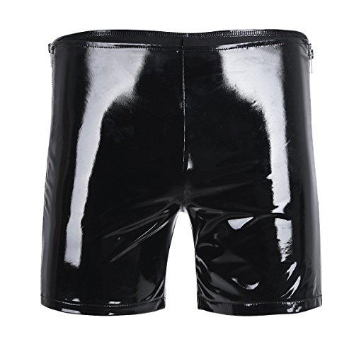 iEFiEL Mens Wet Look Patent Leather Side Zipper Shorts Hot Boxer Short Pants Black L (Waist: 35.0