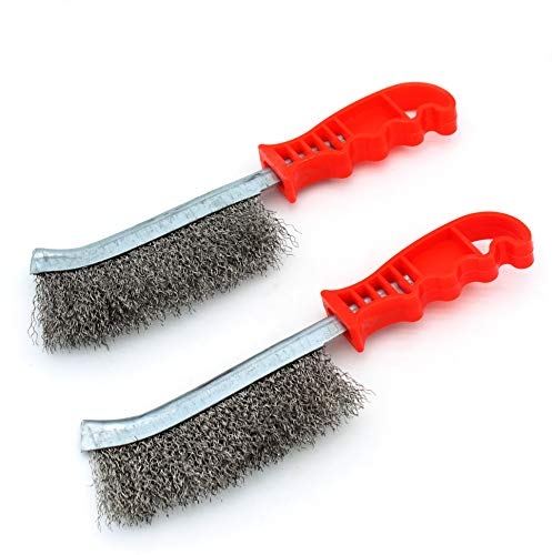 Tueascallk Heavy Duty Stainless Steel Wire Brush, For Strong Cleaning Welding Slag, Rust, Wood Slag, Paint and Heavy Stains, 2 Pcs