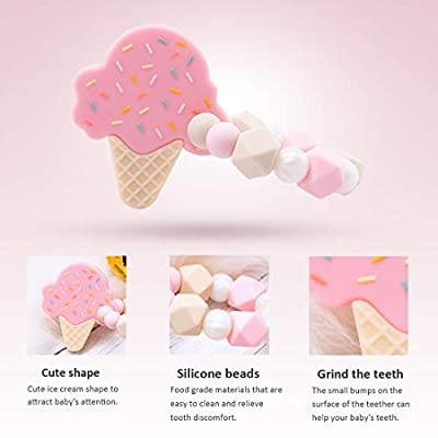 Soft Silicone Beads Ring Lovely Pink Ice Cream Shape Pendant Bracelet BPA Free Safe Non-Toxic Teether Pain Relief Mom Toddler Wear Jewelry Toys: Toys & Games