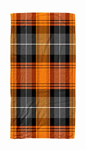 Asdecmoly Swimming Towel Cloth Quick-Drying Bath Towel 30X60 Inch Halloween Tartan Plaid Scottish Pattern in Orange Black White Gray Cage Traditional Outdoor Beach Towel Travel Camping Spa Blanket ()