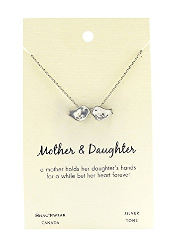 Shag Wear Animal Inspirations Quote Pendant Necklace (Mother, Daughter Birds Pendant)