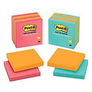 Post-it Pop-up Notes, 3 in x 3 in, Assorted Colors, 5 Pads/Pack