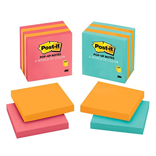 Post It Pop Up Notes  3 In X 3 In  Assorted Colors  5 Pads Pack