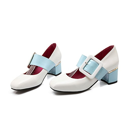 colores charol de nbsp;para Uppers varios Chunky 1to9 tacones zapatos hebilla mujer low cut Blanco bombas mms04166 zww7qxpnU