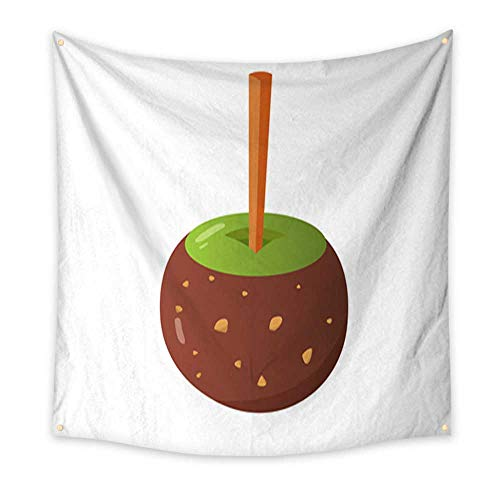 Anniutwo Tapestry Dorm Sweet Caramel and Chocolate Candy Apple Vector Illustration in Cartoon Style Living Room Bedroom Dorm Decor in 32W x 32L Inch -