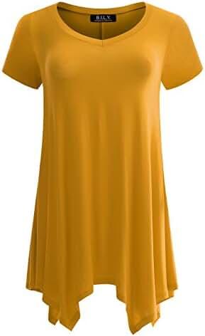 BILY Women's Swing Loose Fit Comfy Flattering Tunic Tops
