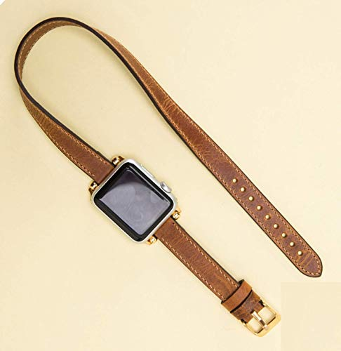 Slim Apple Watch Band for Women, 38mm, 40mm, 42mm, 44mm, Brown iWatch Genuine Leather Strap, for Women Series 4, 3, 2, 1, Handmade EXPRESS SHIPPING, PERSONALIZATION AVALIABLE, READY to SHIP