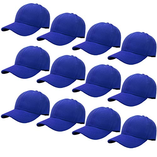 Blue Baseball Cap - 12-Pack Bulk Sale Plain Baseball Cap Adjustable Size Solid Color G012-13-Royal