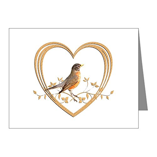 CafePress - Robin In Heart - Blank Note Cards (Pack of 20) Glossy by CafePress