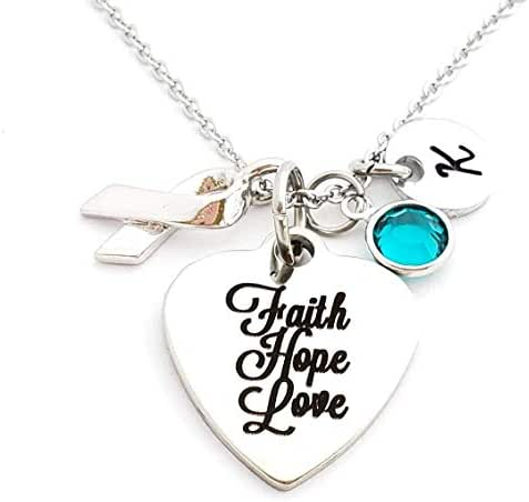 Teal Ovarian Cancer Awareness Necklace, Faith Hope Love 1 Corinthians Supporting Loved One Jewelry