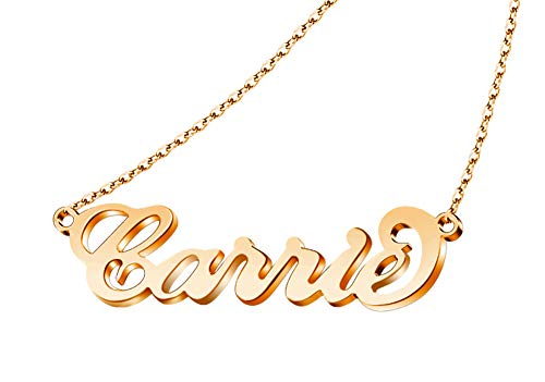 (GNOCE Personalized Name Necklace 18K Gold Plated Custom Bracelets Made Any Name Best Gift for Your Lover, Friends, Family - Gold)