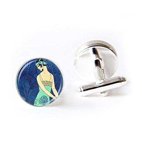 JEANCZ Jewelry Stainless Cufflinks ART deco flapper girl roaring twenties art Classic Tuxedo Shirt Cufflinks with Elegant Storage Display Box