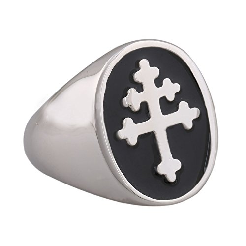 Black Enamel Cross of Lorraine Stainless Steel Mens Ring Knights Templar (Lorraine Ring)