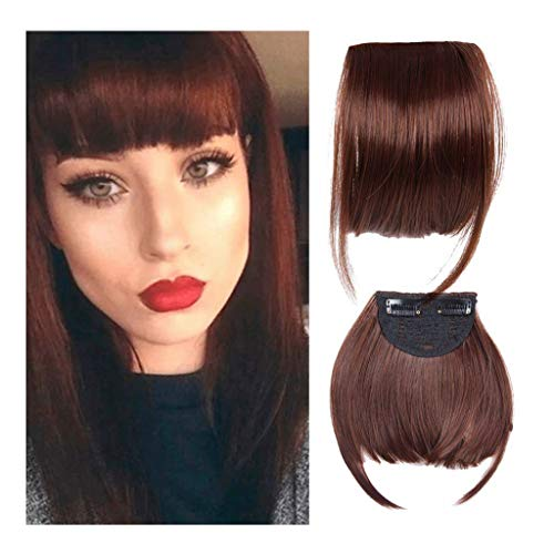 Iusun Extension Fringe Wig Female Air Bangs Hair Piece Double Temples Chemical Fiber Bangs High Temperature Wire (D) (The Right Hairstyle For Your Face Shape)