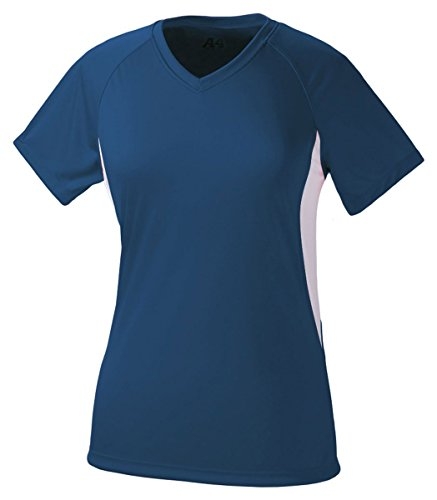 A4 Women's Cooling Performance Color Block Short Sleeve Tee, Navy/White, X-Large