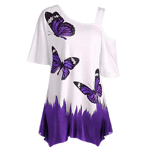 Cold Shoulder Tops for Women Plus Size Floral Print Tunic Top Butterfly Sleeveless Flowy T Shirt by Lowprofile -