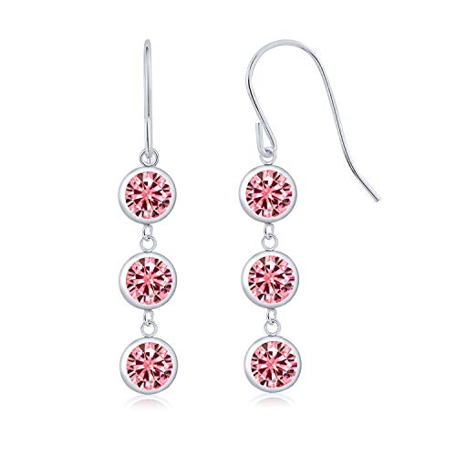 (925 Sterling Silver Dangle Earrings Round Pink Created Moissanite and Vivid Created Moissanite Pink 2.00ct (DEW))