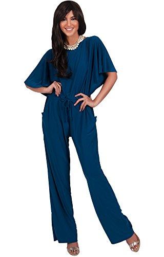 KOH KOH Women Short Sleeve Long Pants One Shoulder Cocktail Casual One Piece Jumpsuit Jumpsuits Pant Suit Suits Romper Rompers Playsuit Playsuits, Blue Teal L 12-14 (1)
