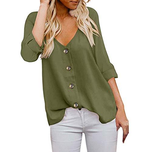 TUSANG Women Tees Fashion 3/4 Sleeve V Neck T Shirts Button Down Shirts Casual Tops Shirts Blouses Slim Tunic(Army Green,US-6/CN-M)