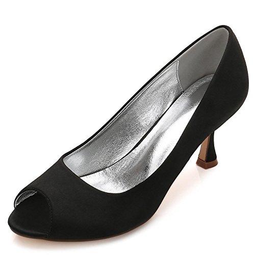 E17061 Misura Black L yc Da Court Toe Size Donna Ladies Low Party su Peep Scarpe Sposa Heel 10 Satin waFwB