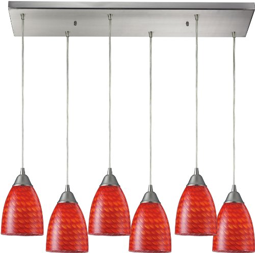 elk-416-6rc-sc-30-by-9-inch-arco-baleno-6-light-pendant-with-scarlet-glass-shade-satin-nickel-finish