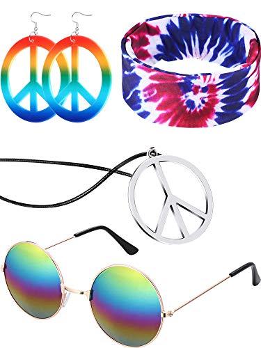 4 Pieces Hippie Costume Set Glasses Peace Sign Pendant Earring Tie Dye Headband (Style C)