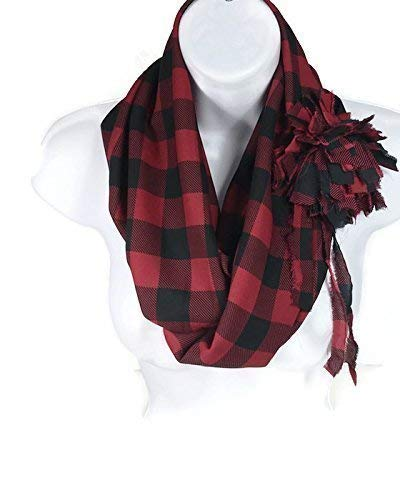 (Red and Black Buffalo Check Chiffon Scarf with Flower Pin Buffalo Plaid Chiffon Infinity Scarf with Removable Matching Flower Pin Red and Black Buffalo Plaid Scarf and Pin)