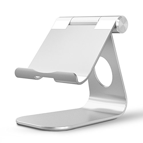 (OMOTON Adjustable Tablet Stand Compatible with iPad, Tablets (Up to 12.9 inch) and all Cell Phones, Stable Sticky Base, Silver)