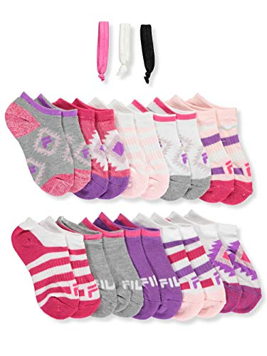 Fila Little Girls 10-Pack Ankle Socks with Hair Ties - white, 4-6 (Fila Girls Clothes)