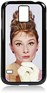 Audrey Hepburn-Crown- Hard Black Plastic Snap - On Case-Galaxy s5 i9600 - Great Quality!
